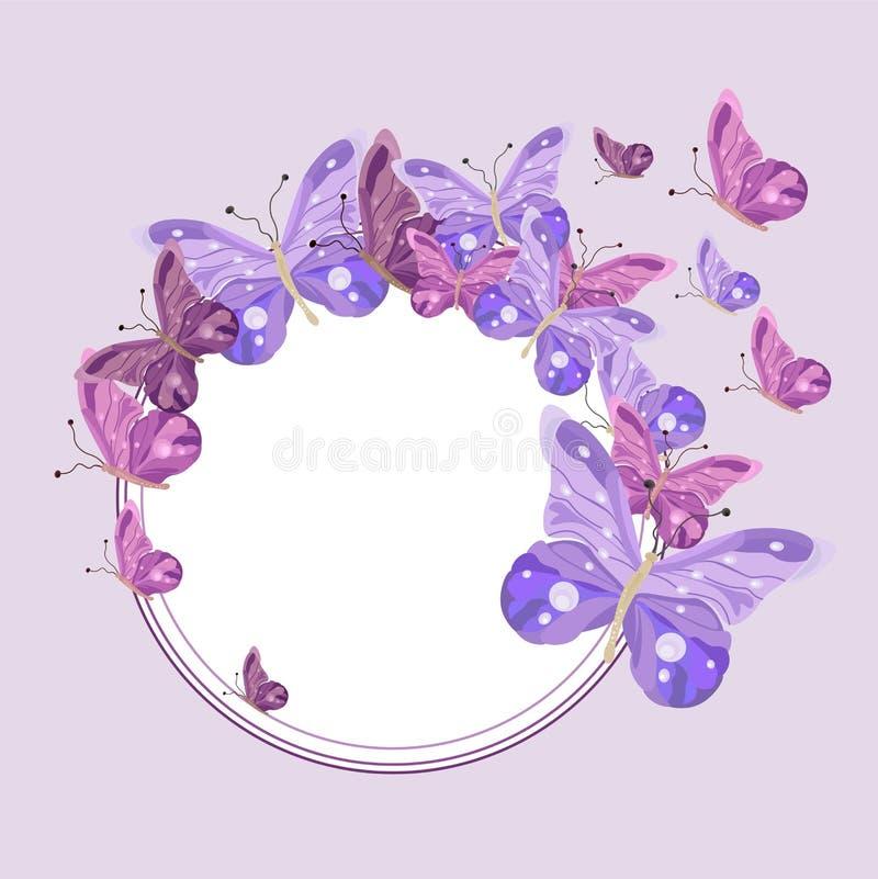 Motyla wianku tła round wektor Pastelowy kolor royalty ilustracja