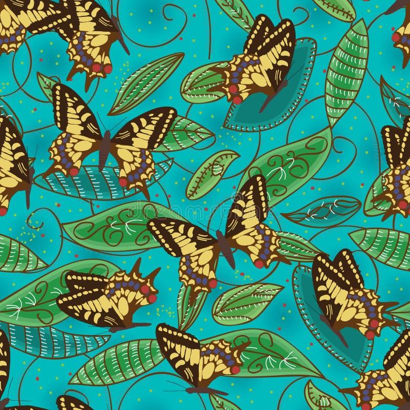 Motyla zielony batikowy naturalny bezszwowy wzór ilustracja wektor