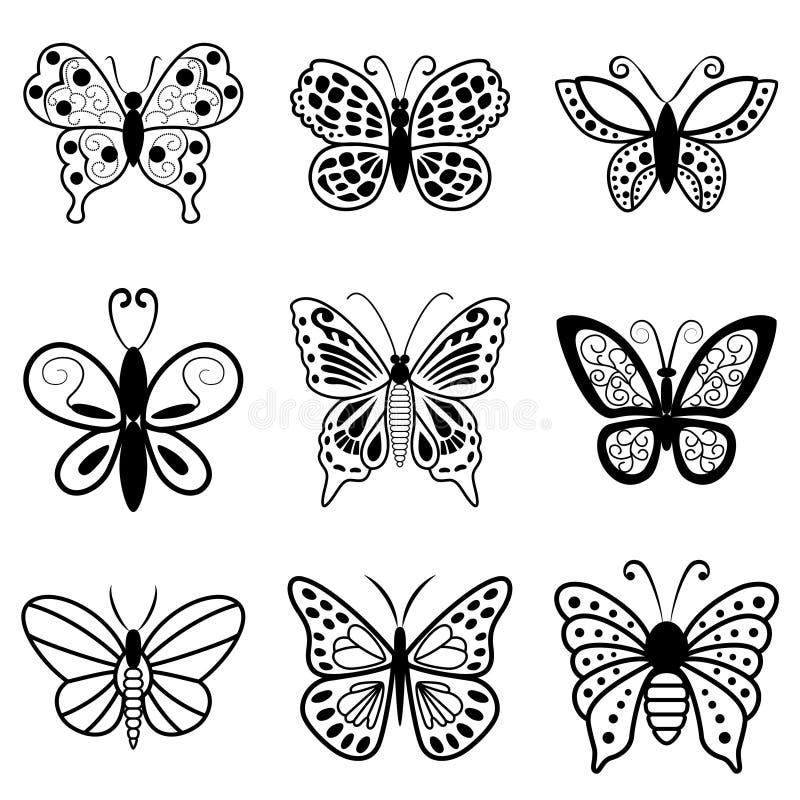 Motyle, czarne sylwetki na białym tle royalty ilustracja