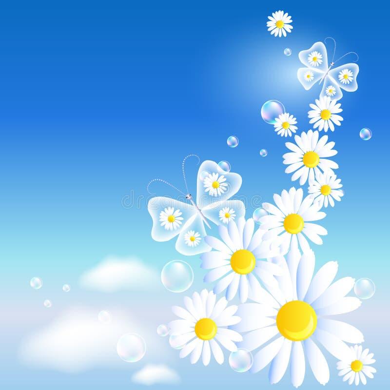 Motyle i stokrotka w niebie ilustracja wektor