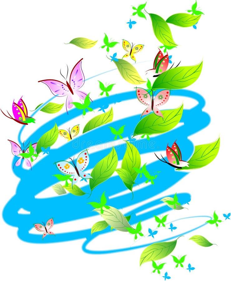 motyle kolor liści pastelu zwoje ilustracja wektor
