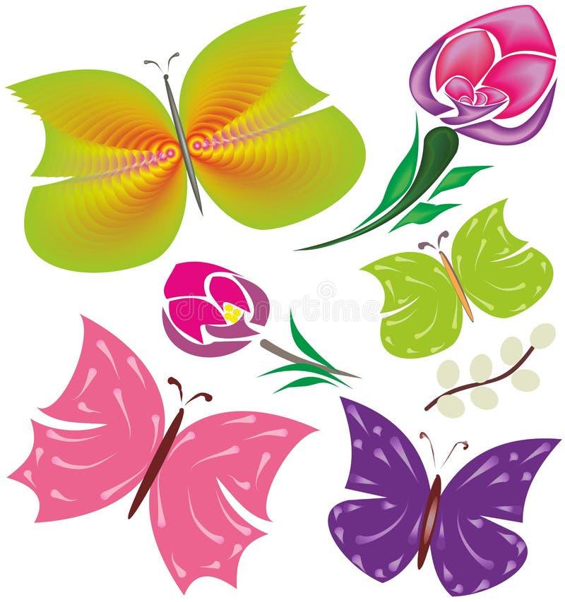Motyle, kwiaty - piękni projektów elementy zdjęcie stock