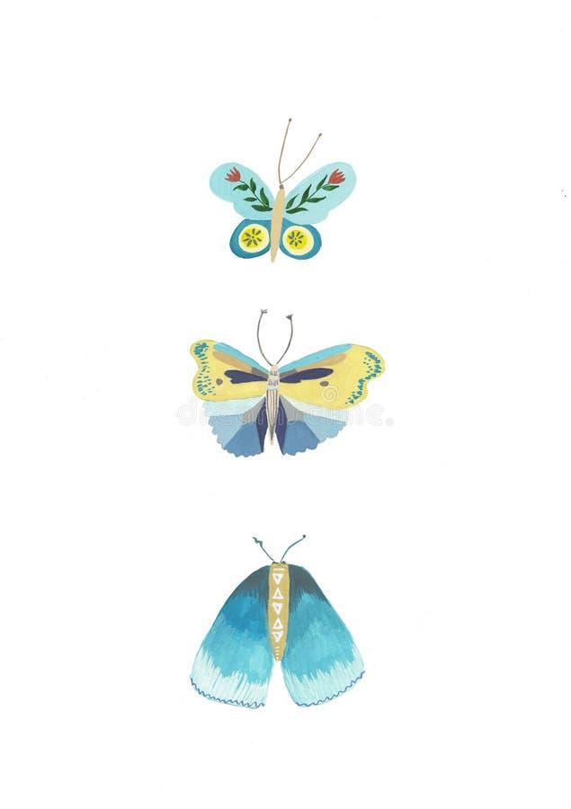 motyle niebieskie Set beak dekoracyjnego lataj?cego ilustracyjnego wizerunek sw?j papierowa kawa?ka dym?wki akwarela royalty ilustracja