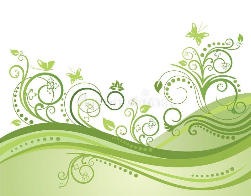 motyle odpowiadają kwiaty zielenieją wiosna royalty ilustracja