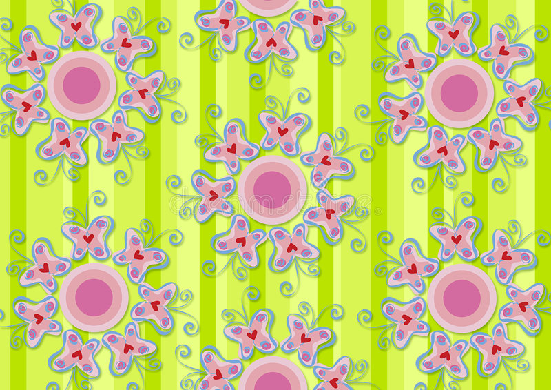 motyle ogródek uprawiają serce różowy ilustracja wektor
