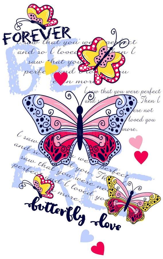 Motyle przytaczają kwiaty Graficzny projekt dla koszulki ilustracji
