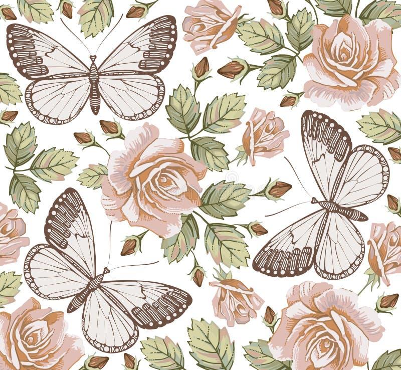 Motyle. Róże. Kwiaty. Piękny tło. ilustracja wektor