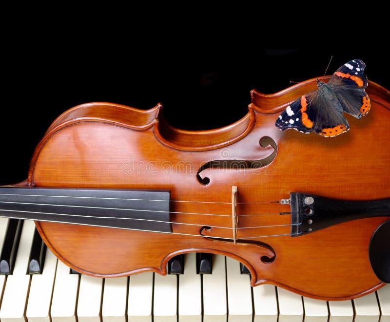 Motyli admiral na skrzypce Skrzypce i Pianino Zakończenie Kopii przestrzenie zdjęcia stock