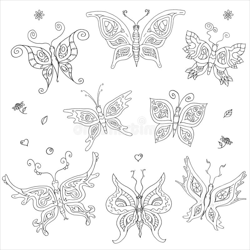 8 motyli barwi konturu doodle zdjęcia stock