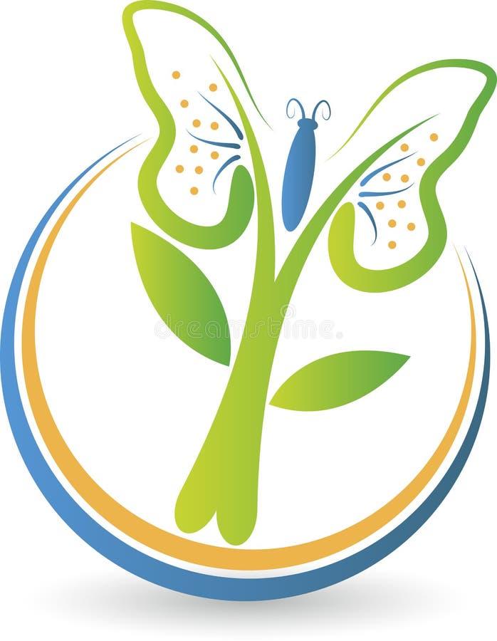 Motyli drzewny logo ilustracja wektor