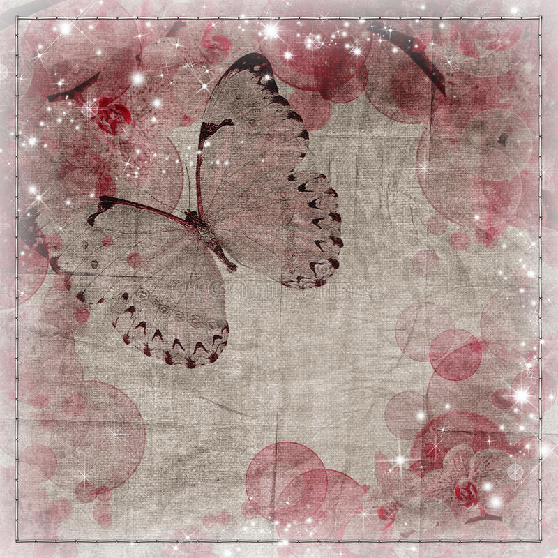 Motyli i orchidei kwiatów tło ilustracji