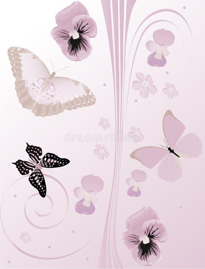 motyli kędziorów kwiaty lili ilustracji