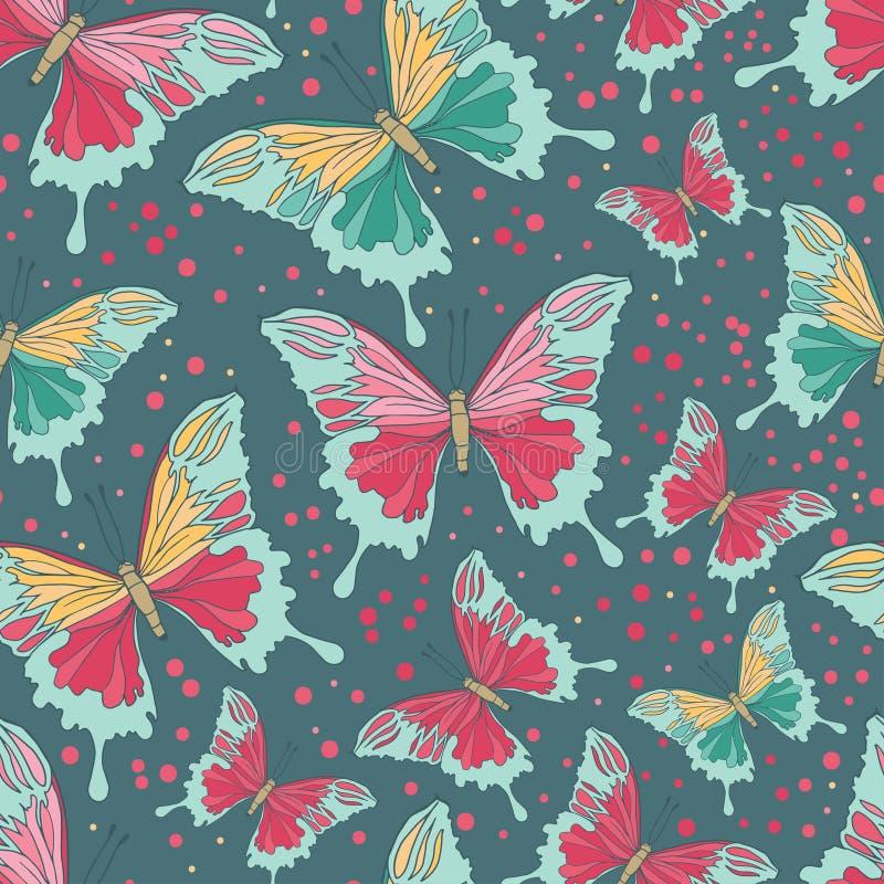 motyli kolorowego ilustracyjnego jpg wzoru bezszwowy wektor ilustracji