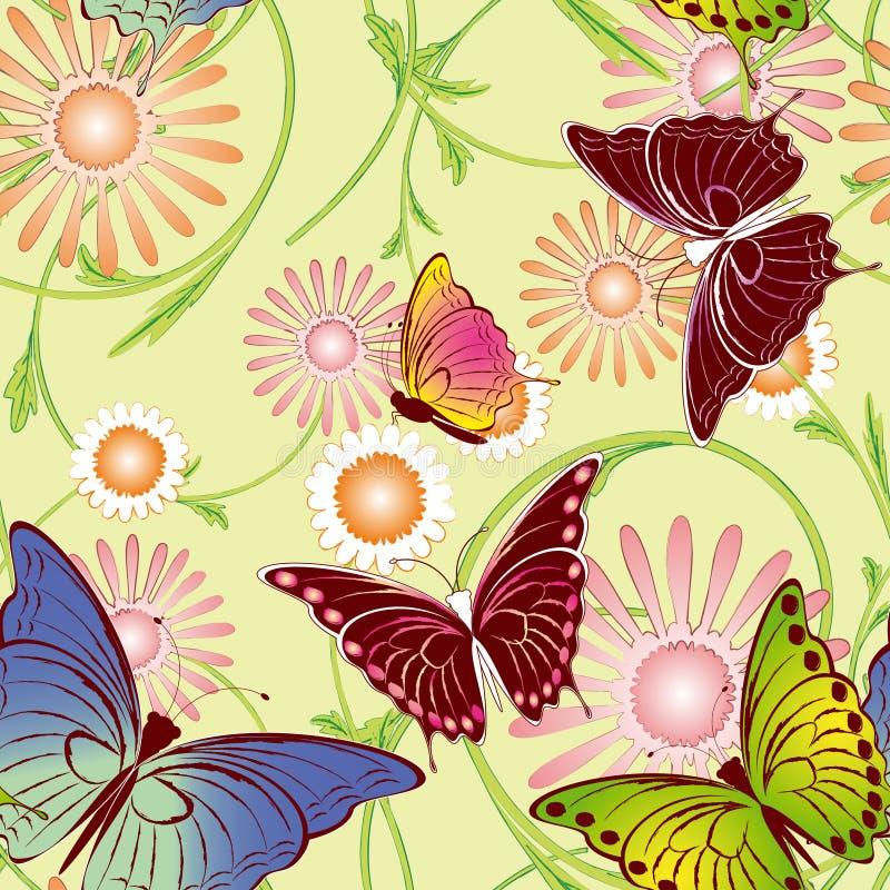 motyli kwiecisty deseniowy bezszwowy ilustracji