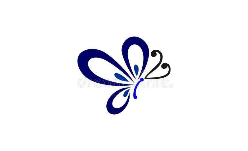 Motyli loga projekt royalty ilustracja