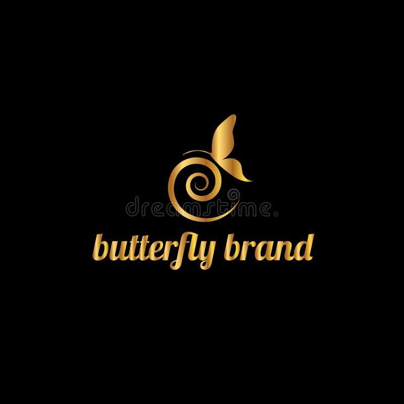 Motyli loga szablon również zwrócić corel ilustracji wektora ilustracja wektor
