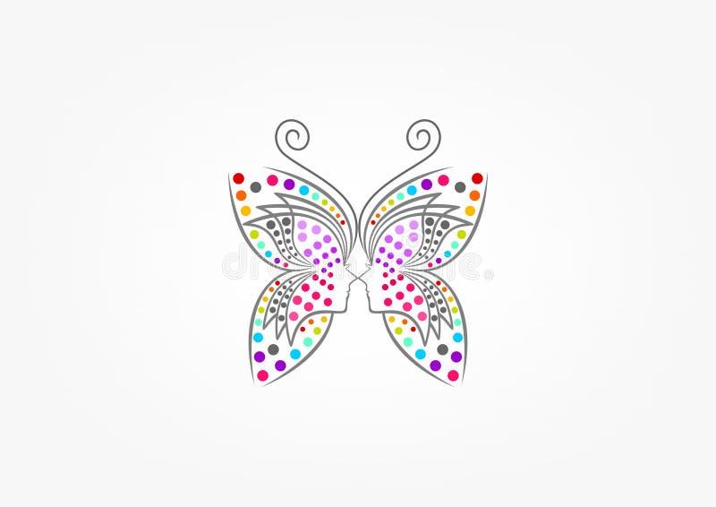 Motyli logo, zdrój, moda, piękno kobieta, masaż, relaksuje, kosmetyk i opieki zdrowotnej pojęcia projekt, royalty ilustracja