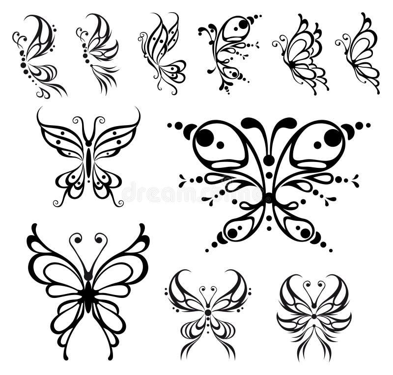 Download Motyli tatuaż ilustracja wektor. Obraz złożonej z biały - 11492916