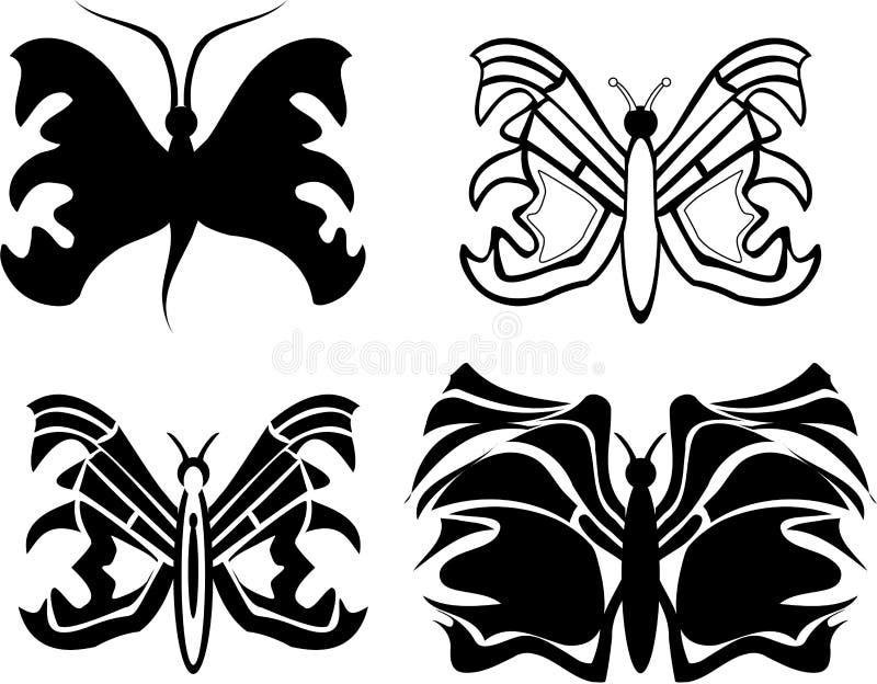 Download Motyli tatuaż ilustracja wektor. Obraz złożonej z dekoracje - 7309357