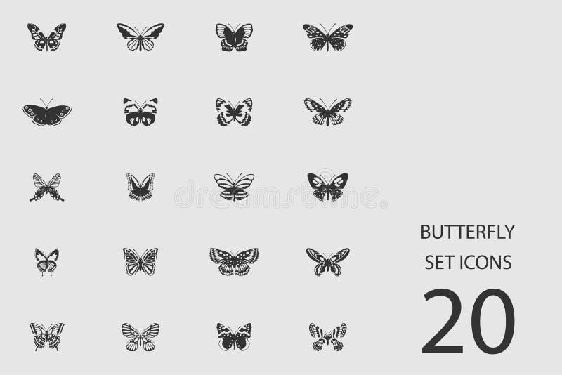 Motyli ustawiający płaskie ikony również zwrócić corel ilustracji wektora ilustracji