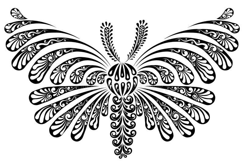 Motylia dekoracyjna wektorowa ilustracja royalty ilustracja
