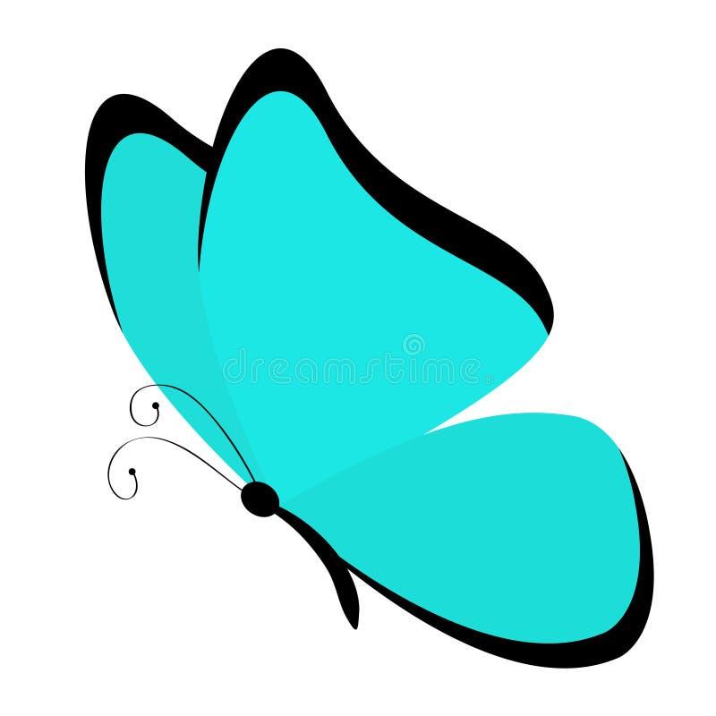 Motylia ikona Ślicznego kreskówki kawaii śmieszny charakter Kolorowi błękitów skrzydła Morpho didius Latającego insekta sylwetka  royalty ilustracja