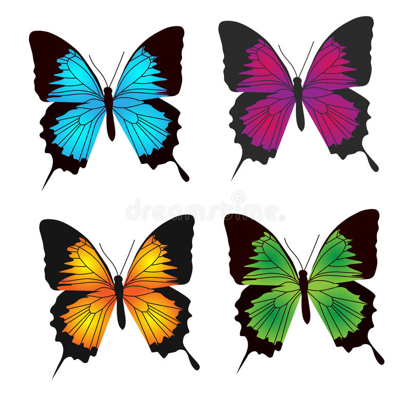 Motylia kolor kolekcja ilustracji