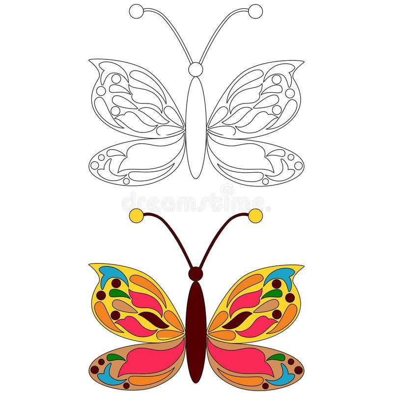 Motylia kolorystyki strona royalty ilustracja