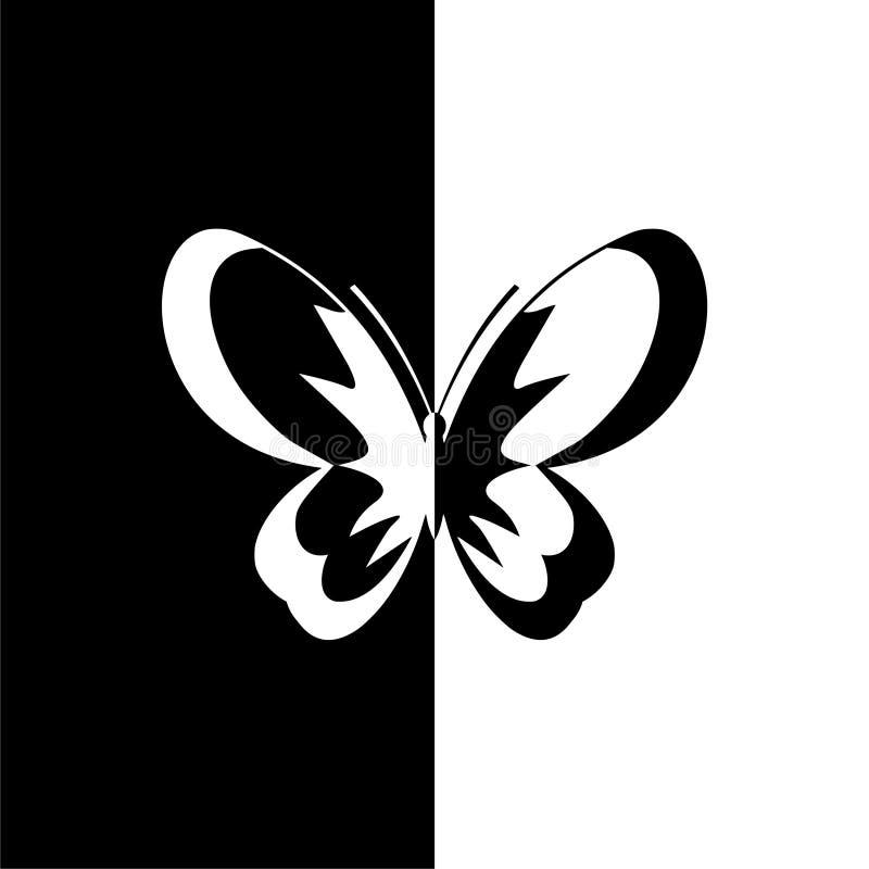 Motylia sylwetki ikona, czarny i biały ilustracja wektor