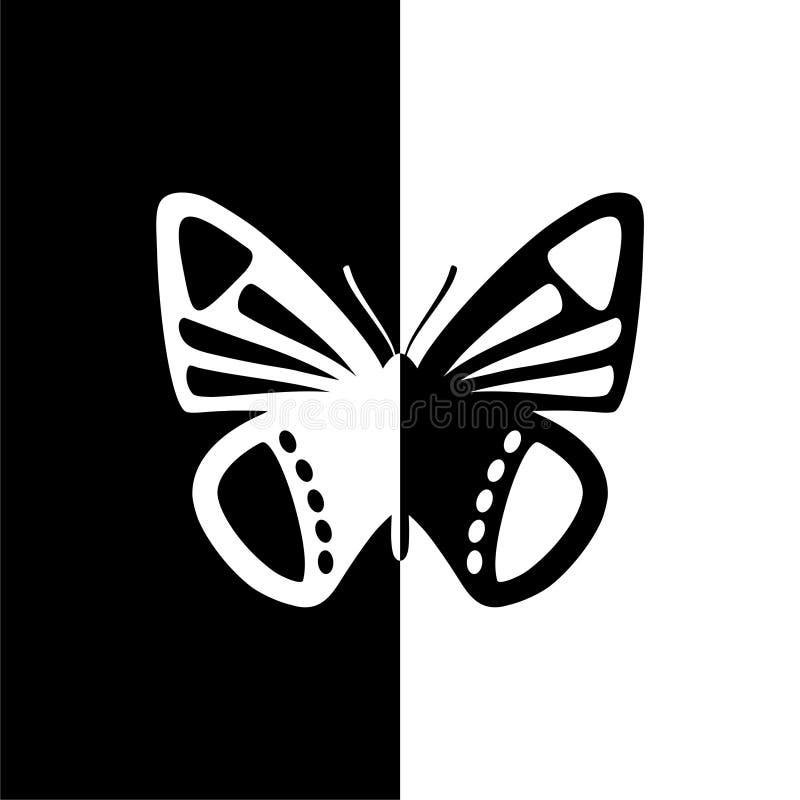 Motylia sylwetki ikona, czarny i biały ilustracji