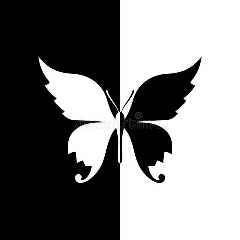 Motylia sylwetki ikona, czarny i biały royalty ilustracja