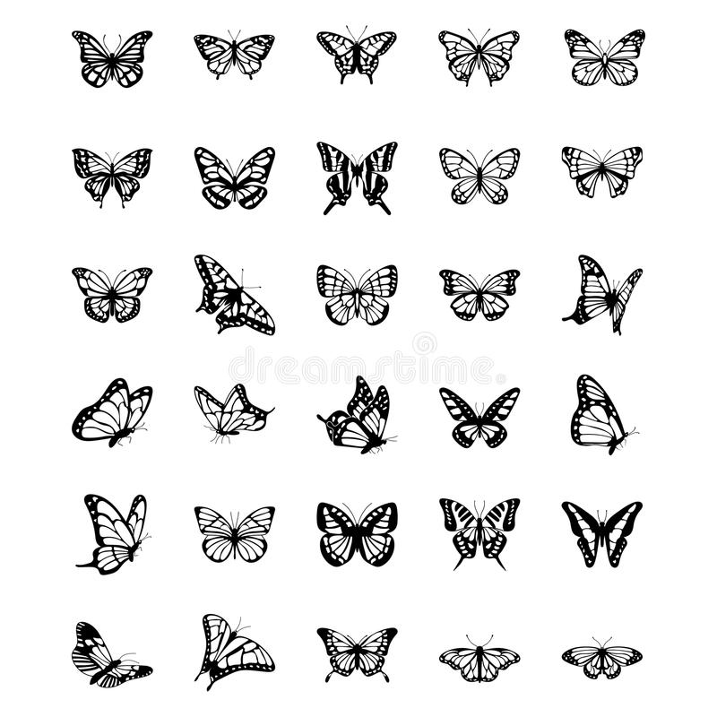 Motylie Stałe Wektorowe ikony Ustawiać obraz stock