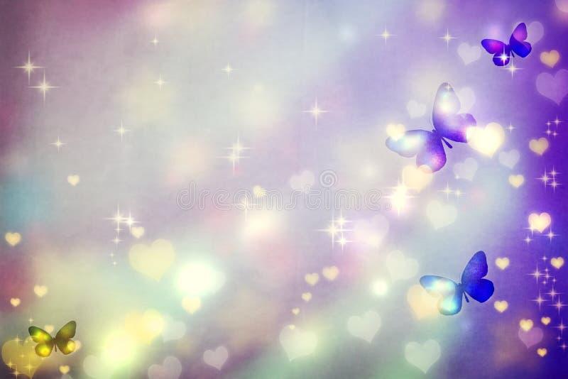 Motylie sylwetki na purpurowym tle royalty ilustracja