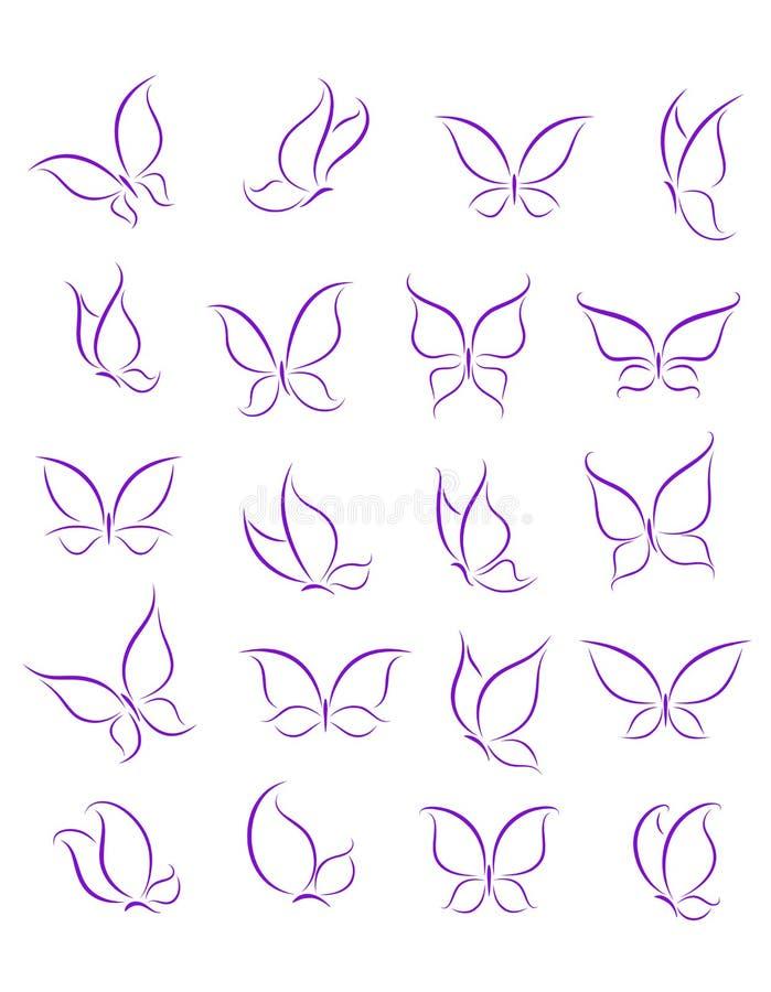 Motylie sylwetki ustawiać ilustracja wektor
