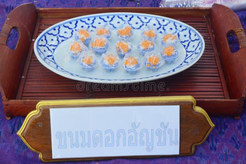 Motyliego grochu Ryżowych tortów Tajlandzki deser - Kanom Dok UN Chan zdjęcia royalty free