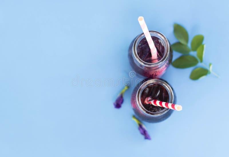 Motyliego grochu sok w trawy butelce z liściem i kwiatem na bławym tle, zielarski dink dla zdrowego pojęcia zdjęcia stock