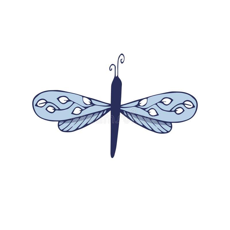 Motyliego klamerki sztuki charakteru latania dwa skrzydeł ornamentu magicznego koloru tekstury rysunku ziemi błękitna ustalona pr royalty ilustracja