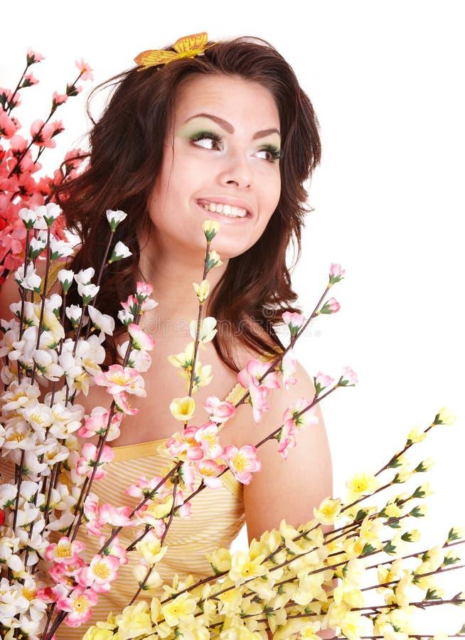 motyliego kwiatu dziewczyna target1376_0_ nad ramieniem fotografia royalty free
