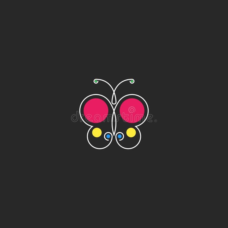 Motyliego logo modnisia minimalny stylowy monogram, sylwetka abstrakcjonistyczny piękny insekt z barwionego okręgu geometrycznym  royalty ilustracja