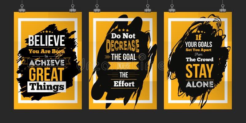 Motywaci Biznesowej wycena abot ustaleni cele Plakatowy projekta pojęcie dla ściany na ciemnej plamie ilustracji