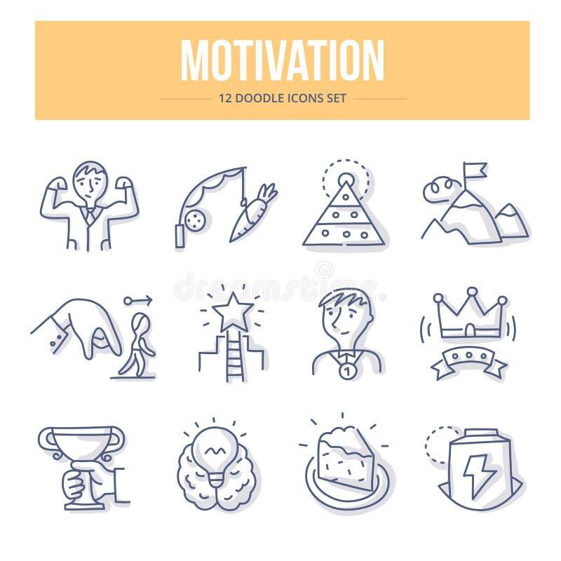 Motywaci Doodle ikony royalty ilustracja