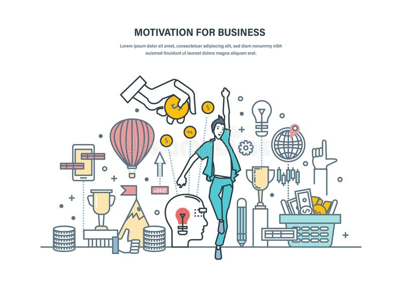 Motywacja Dla biznesu Osiągnięcie wysocy cele, dokształcanie, kariera przyrost ilustracji