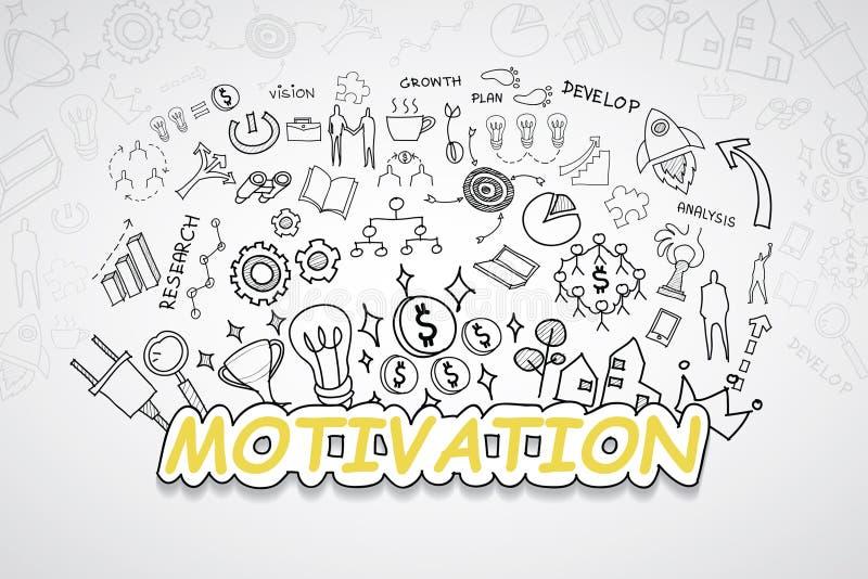 Motywacja tekst Z kreatywnie rysunków wykresów i map biznesowego sukcesu strategii planu pomysłem, inspiraci pojęcia nowożytnego  ilustracja wektor