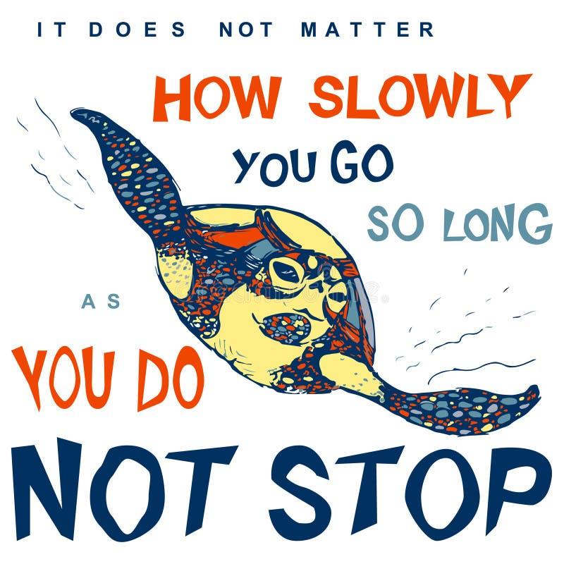 Motywacyjna i inspiracyjna wycena nakreślenie denny żółw w czerni wykłada wektor dla t koszula druku ilustracja wektor