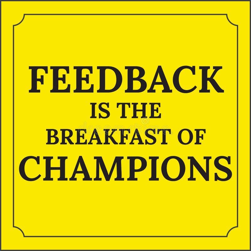 Motywacyjna wycena Informacje zwrotne jest śniadaniem mistrzowie ilustracja wektor