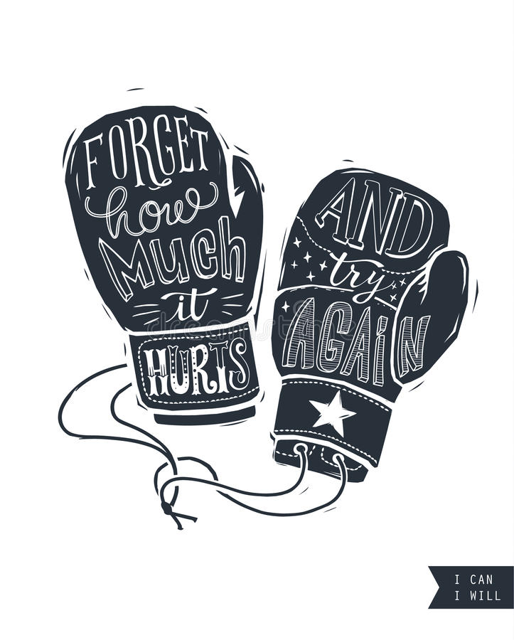 Motywacyjna wycena pisać wśród sylwetki bokserskie rękawiczki Kreatywnie ręki literowanie Uporczywość, wytrzymałość i władza conc ilustracja wektor