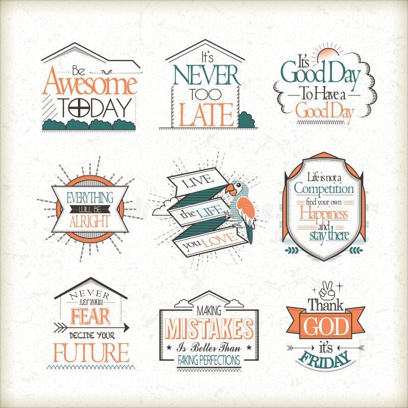 Motywacyjne i inspiracyjne wycena ustawiać ilustracja wektor