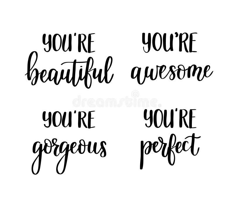 Motywacyjne wektorowe literowanie wycena Ty jesteś wspaniały, perfect, wspaniały, piękny royalty ilustracja