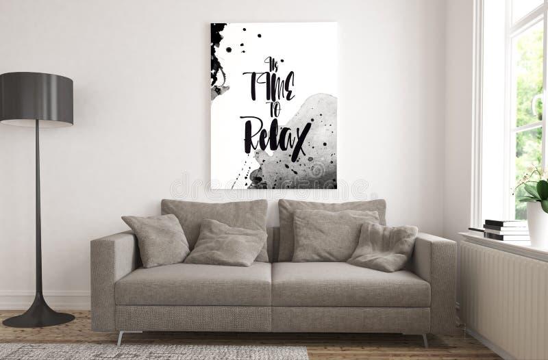motywacyjny plakat na żywym pokoju ilustracji