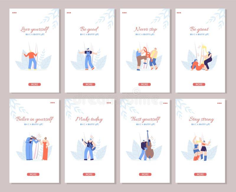 Motywuje Ogólnospołecznego Medialnego opowieść teksta przyjęcia stylu set ilustracja wektor